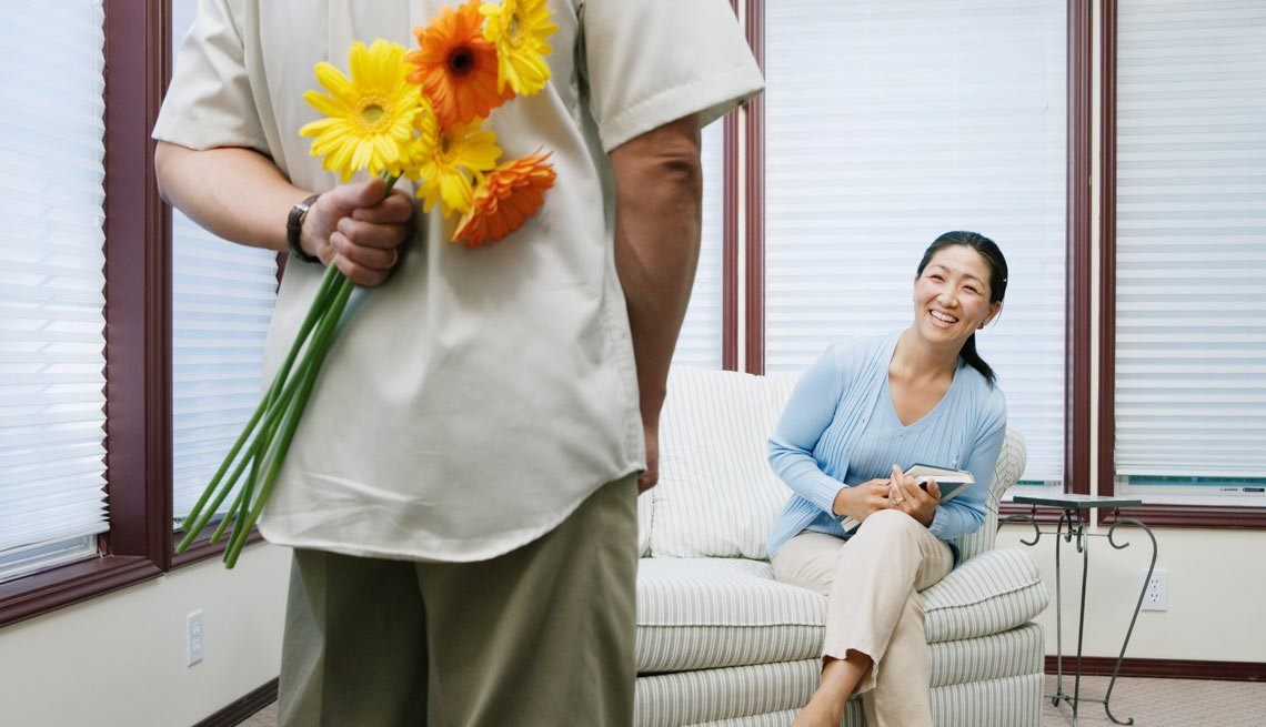Man Hiding Bouquet of Flowers Behind His Back, The Daters' Dictionary