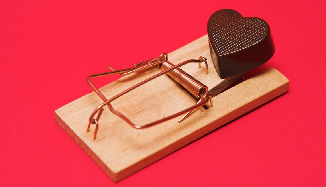 Chocolate Heart on a Mousetrap, Don't Fall for Online Romance Scams