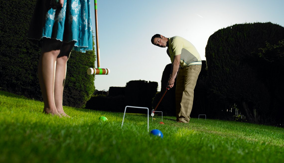 Man and Woman Playing Croquet, Cheap Date Tips and Ideas