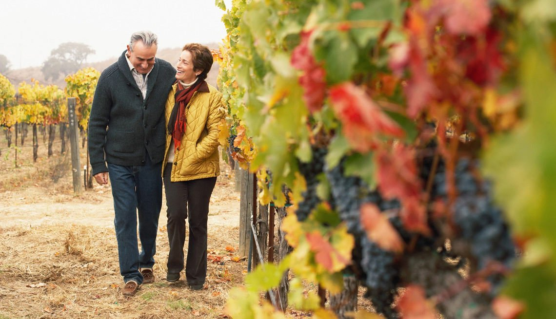 Man and Woman Strolling in a Vinyard, What to Expect on Your First Date