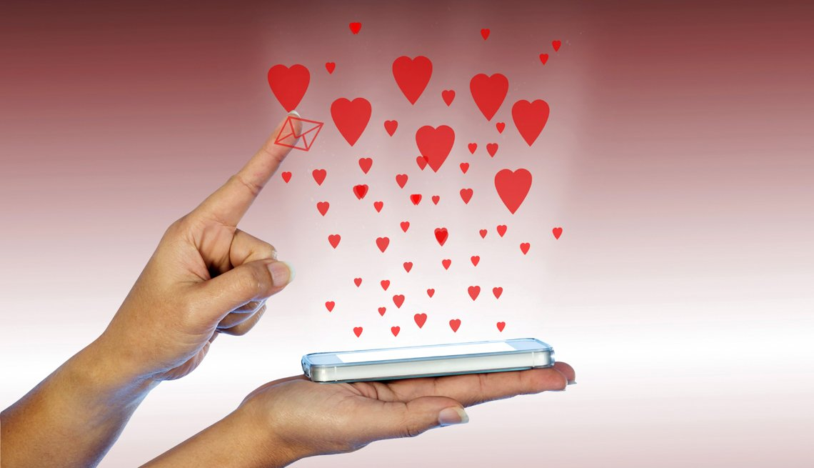 Mobile phone with many red hearts, The New  Dating Game — Millennial  Style