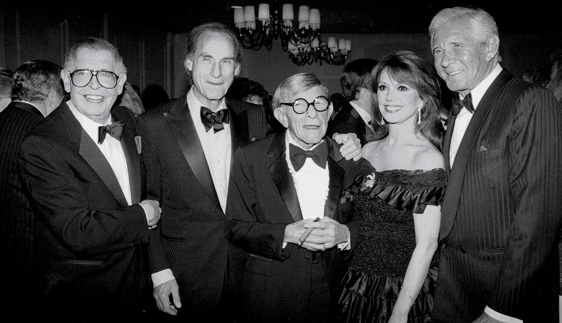 Marlo Thomas with (from left) Milton Berle, Sid Caesar, George Burns and Jan Murray. — Marlo Thomas