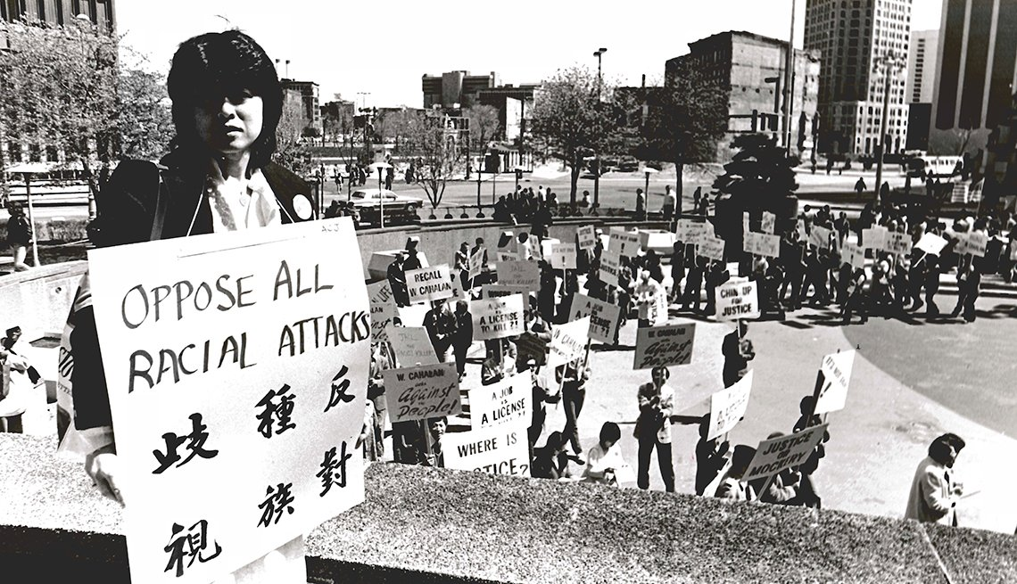 Helen Zia at a rally