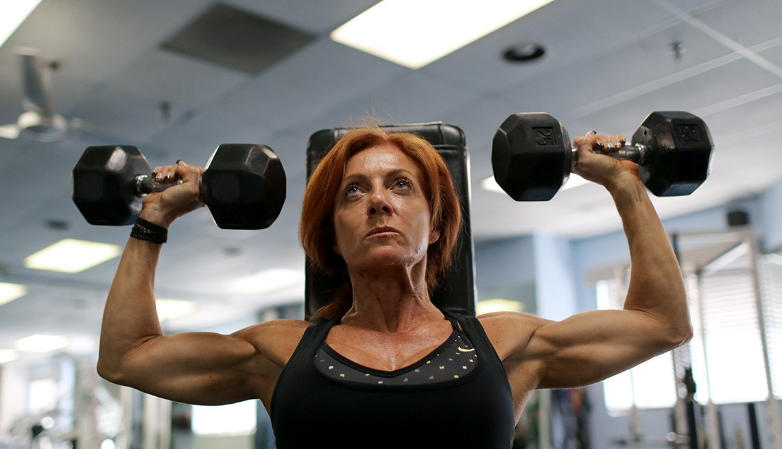 Sherry trains at Smart Bodies Personal Fitness Center in Marlton, New Jersey, where she works as a personal trainer and coach.