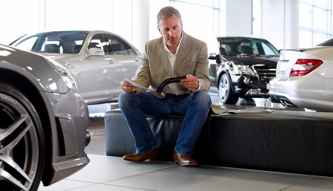Man in Auto Showroom, Higher priced convertibles, Pros and Cons of Buying a Convertible