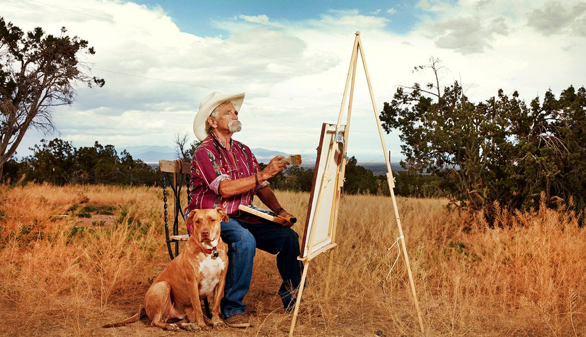 """Pistol Pete"" Bassin enjoys painting the remote scenery of Madrid, N.M."