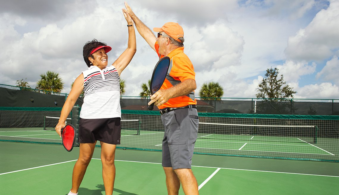 Dawna and Greg Thomas enjoy pickleball at the Villages in Florida.