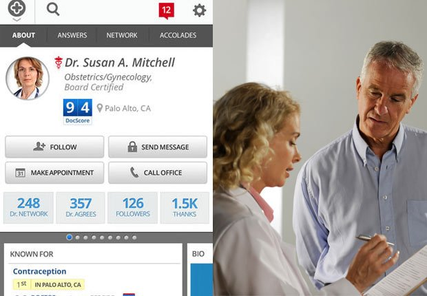 Screenshot from HealthTap; doctor consulting with a patient.