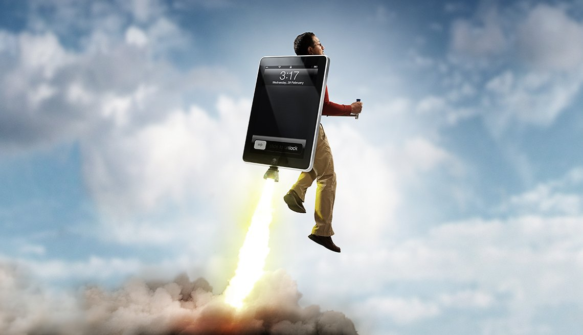Man flying on an Ipad rocket