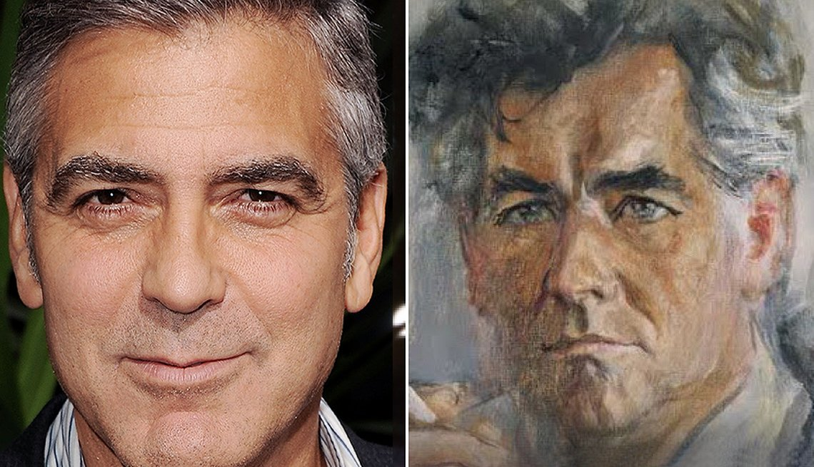 Portrait of George Clooney next to Leonard Bernstein Painting