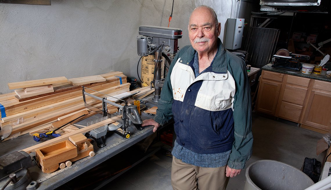 Bob Mitchell in a makeshift workshop in the basement of Bayview, a retirement community in Seattle, WA.