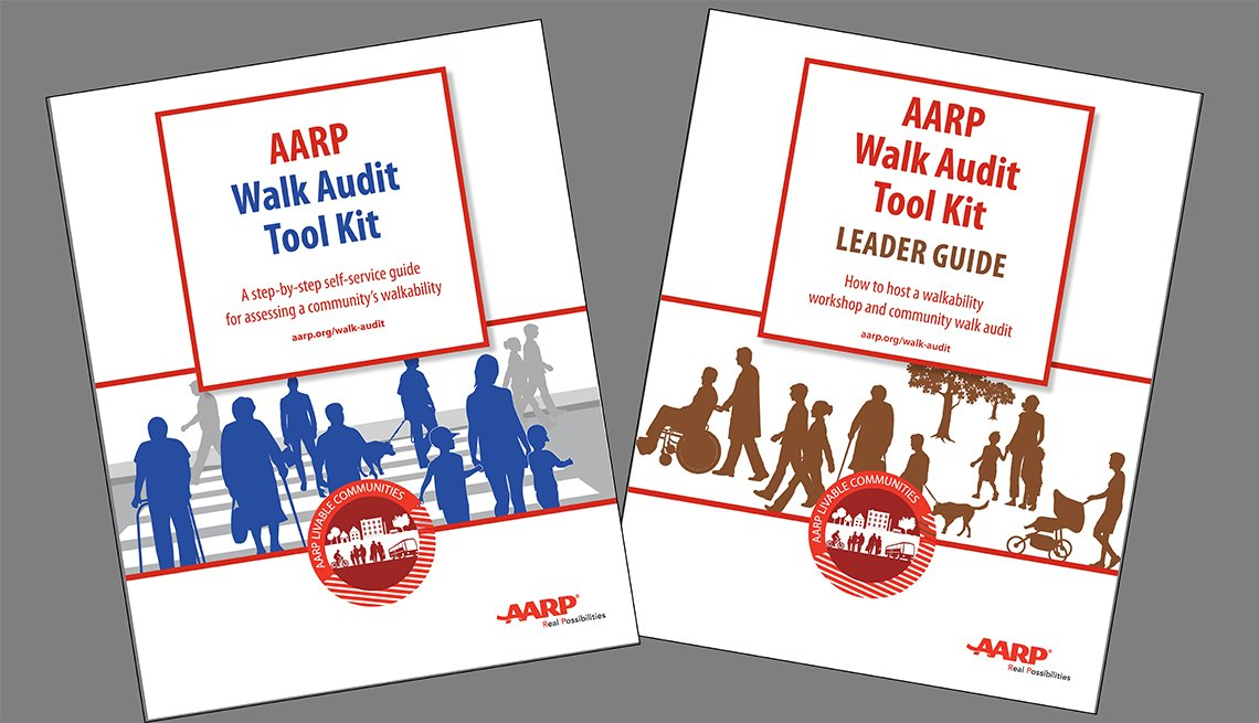 Covers of the AARP Walk Audit Tool Kit and Leader Guide