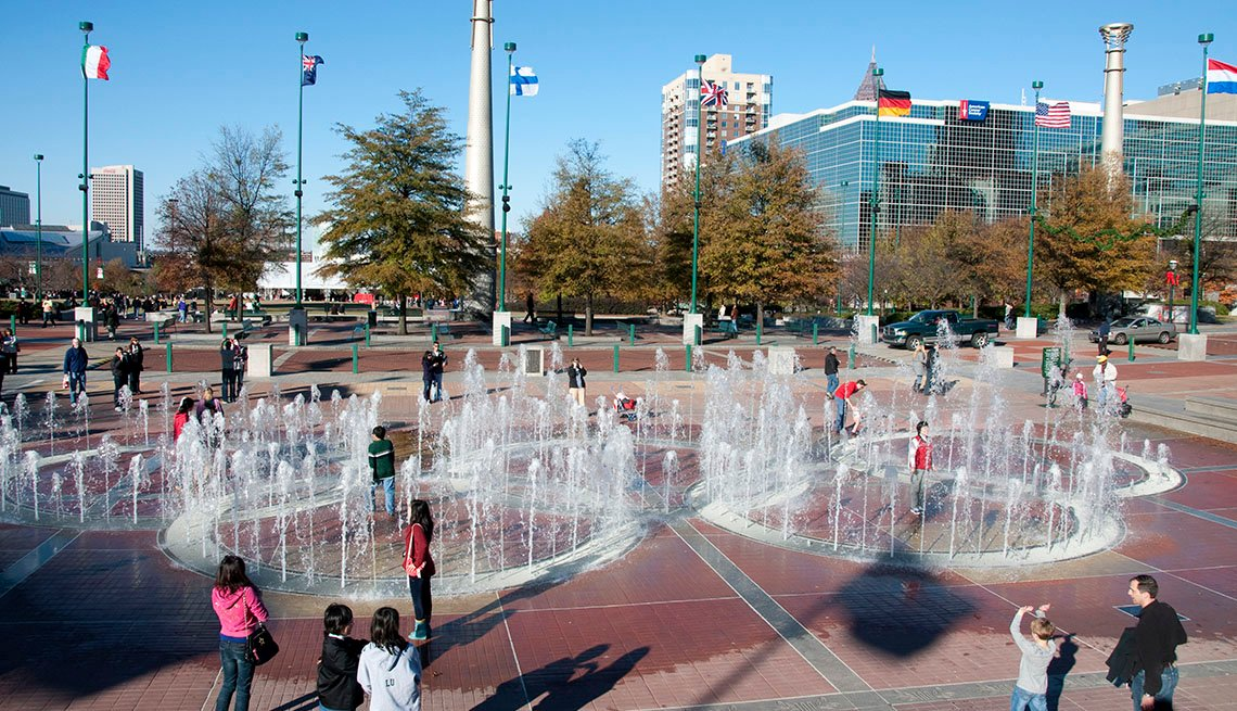 Downtown Atlanta, Georgia, Fountains, Families, Buildings In Background, City, Livable Communities, Great Cities For Older Adults