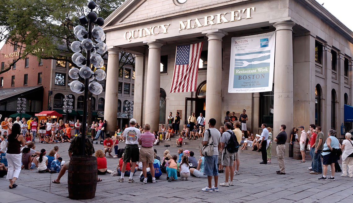 Quincy Market, Downtown, Boston, Massachusetts, People Watch Street Performers, Livable Communities, Great Cities For Older Adults