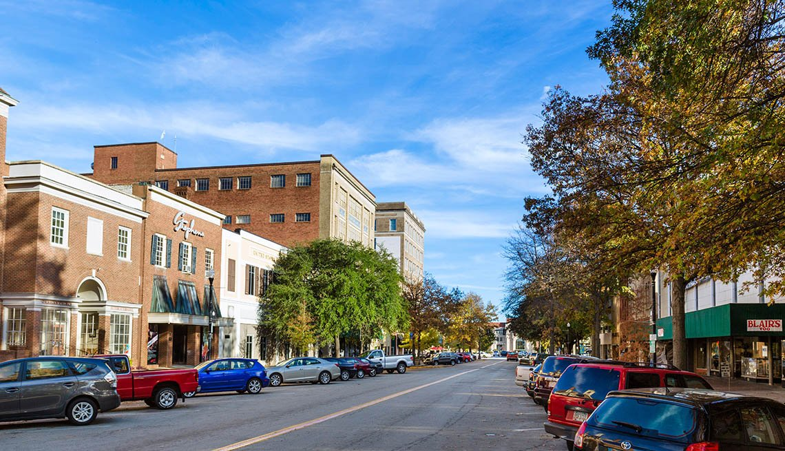 Downtown, Street Lined With Parked Cars, Livable Communities, Great Cities For Older Adults