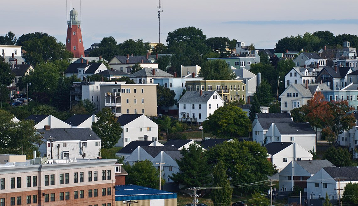 Scattered Buildings And Homes In Portland, Maine, New England, Livable Communities, Great Cities For Older Adults