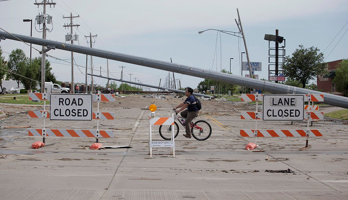 Road Closed, Signs, Man On Bike, Fallen Telephone Pole Across Street, Damage, Disaster Recovery Toolkit, Livable Communities
