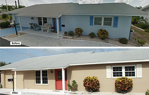 The house exterior before and after remodeling.