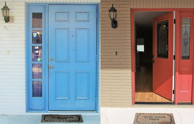 The front door before and after remodeling.