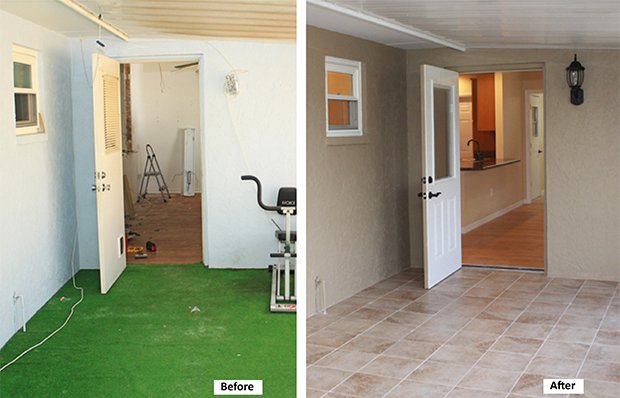 Screened back porch before and after remodeling.