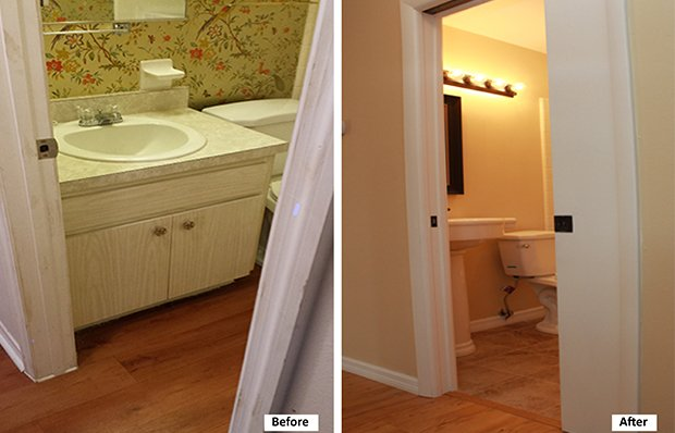 Bathroom entrance and vanity before and after.