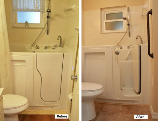 Bathroom and step-in bathtub before and after remodeling.