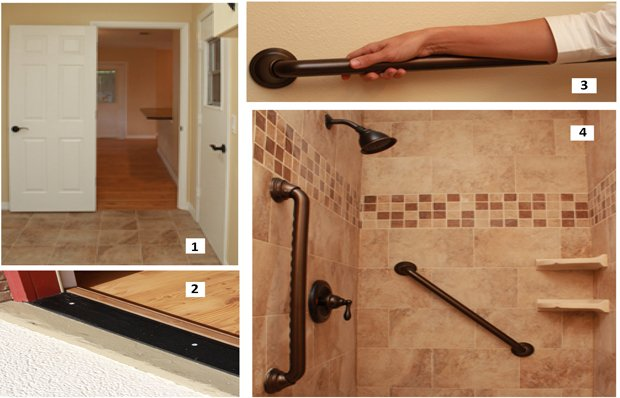 Lever-handles, a door with swing-back hinges, a no-step threshold and bathroom grab bars.