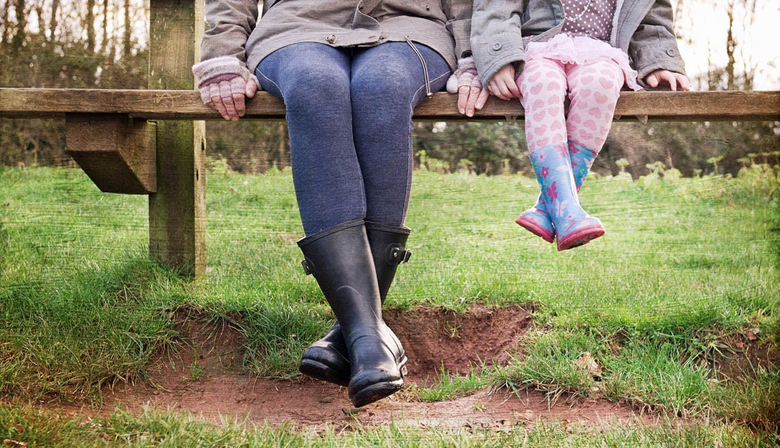 Mother And Young Daughter Sit On Bench In Park With Only their Legs Showing, Legs Swinging Over Bench, Spending Time Together, In Livable Communities Slideshow