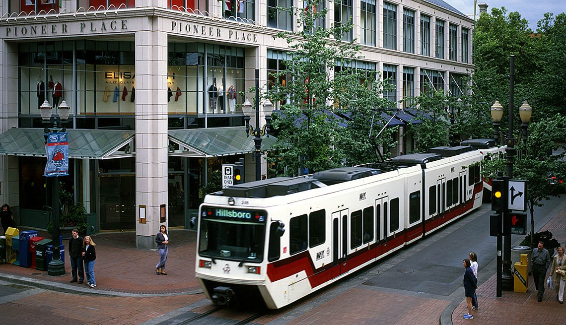 Light Rail Train Pulls Through Downtown Portland, Oregon, City Setting, Urban, Transportation, Public Transit, People, In Livable Communities Slideshow