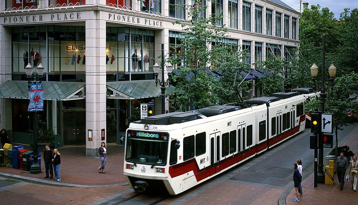 Light Rail Train Pulls Through Downtown Portland, Oregon, City Setting, Urban, Transportation, Public Transit, People, In Livable Communities Slideshow