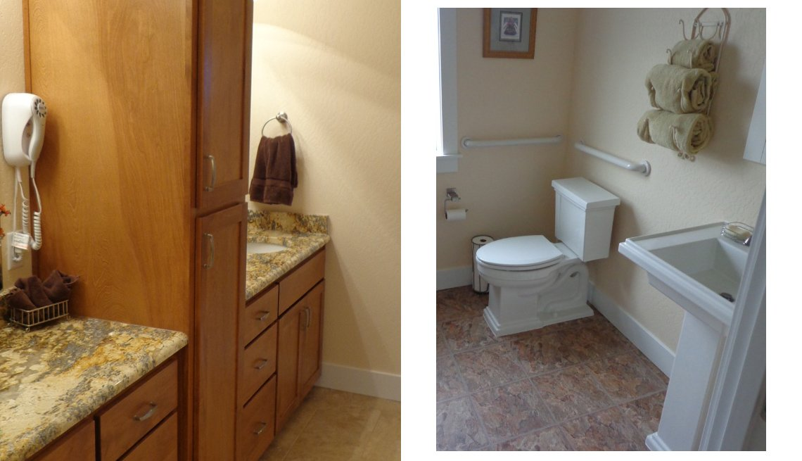 Oregon, Lifelong Home, Side By Side Photos Showing Countertops And Storage In Bathroom And Toilet With Grab Bars, Livable Communities