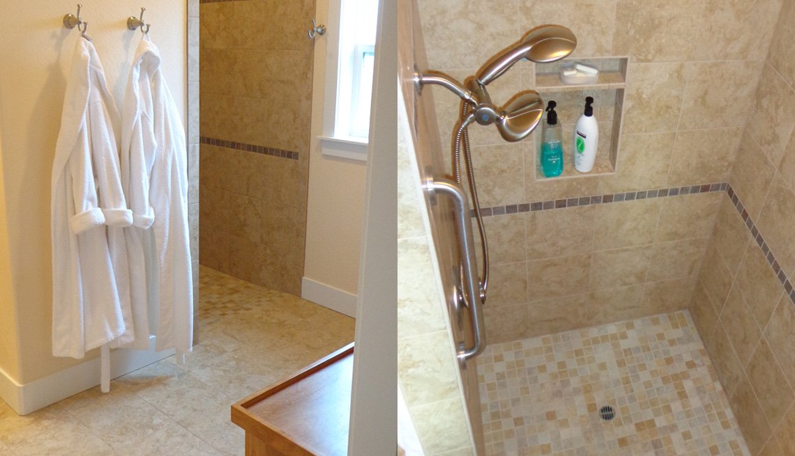 Side By Side Photos Of Bathrobes Hanging On Hooks, Grab Bar Installed By Shower, Bathroom, Livable Communities, Oregon, Lifelong Home