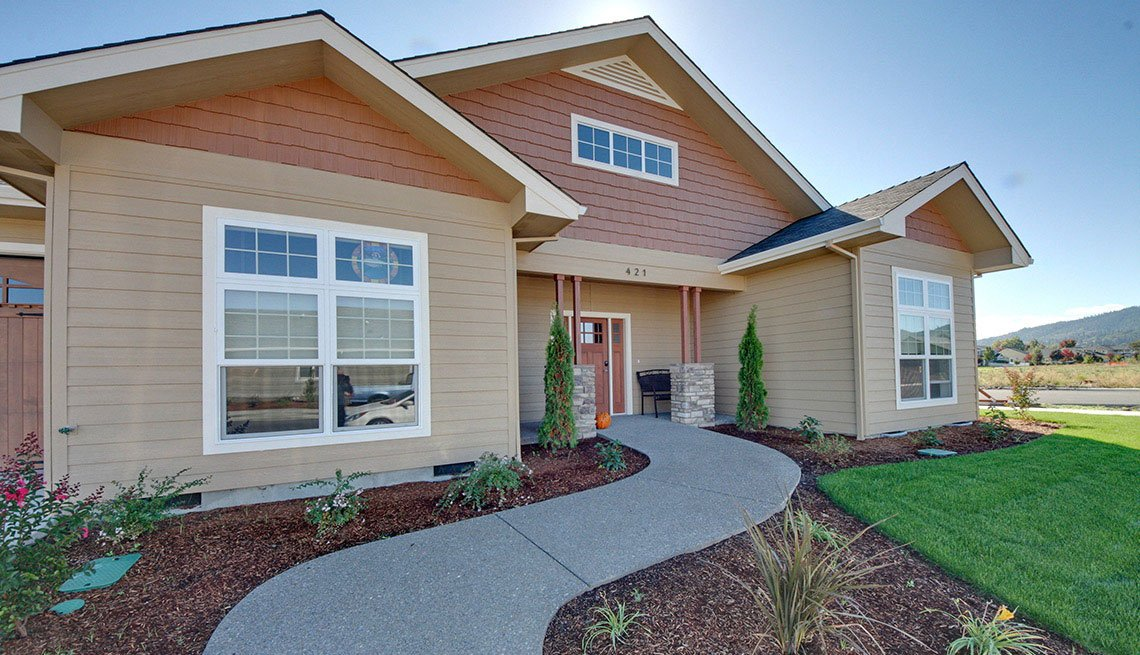 Front Door And Front Of House, Grass, Lawn, Foot Path, Oregon, Lifelong Home, Livable Communities