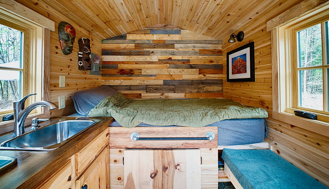 View Of The Bed With Sink To Left And Bench To The Right, Interior Of A Tiny House, Livable Communities