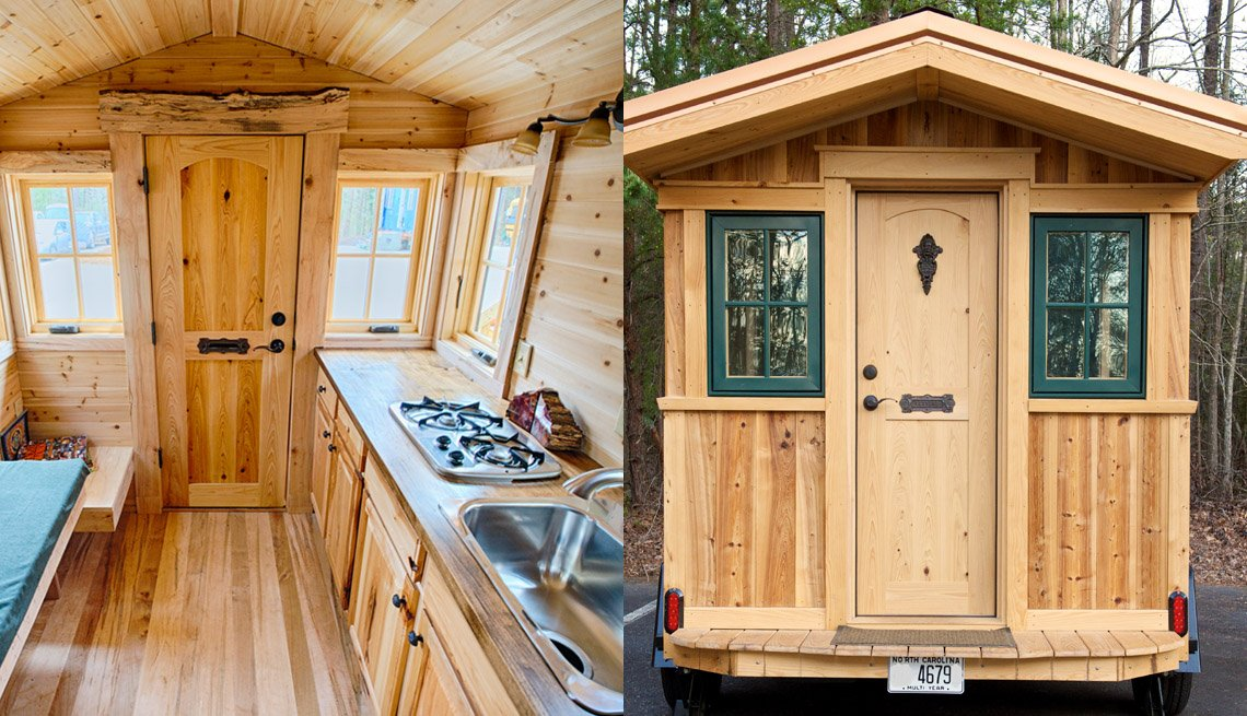 Side By Side Photos, On The Left Interior Of Tiny Home With View Of Front Door And Kitchen Area, On The Right View Of The Exterior Of Tiny Home, Livable Communities