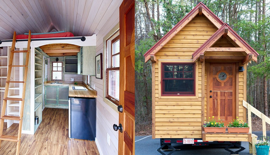 Side By Side Images, On Left Intertior Of Tiny Home With Ladder Leading To Loft Space, On Right The Exterior Of Tiny Home, Livable Communities