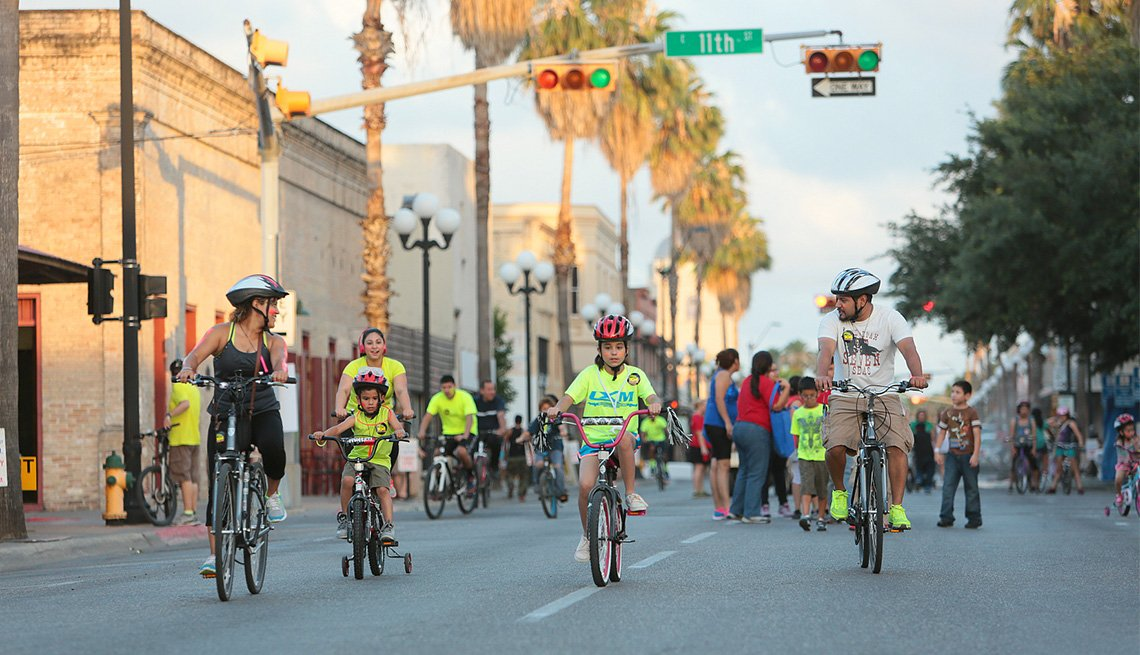 Bicycle riders of all ages enjoy car-free streets during a ciclovia in Brownsville, Texas