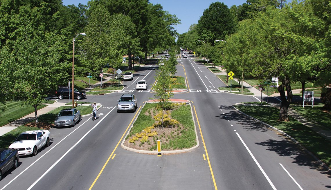 An example of a road diet in North Carolina