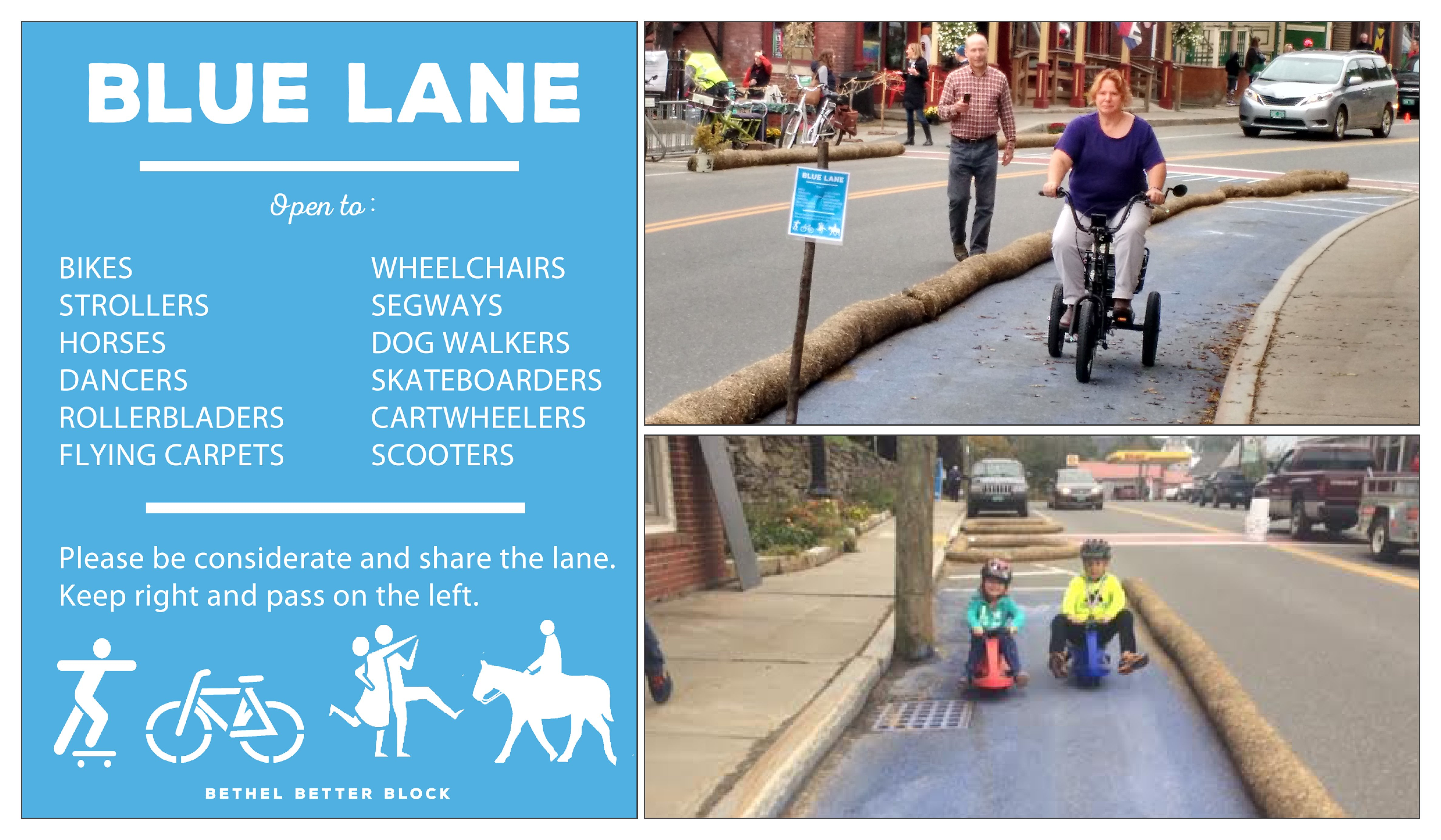 A blue poster describes the Blue Lane and three tricyclists, both older and young, show how the lane can be used.