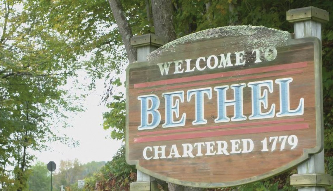 The Welcome to Bethel sign announces that the town was chartered in 1779.