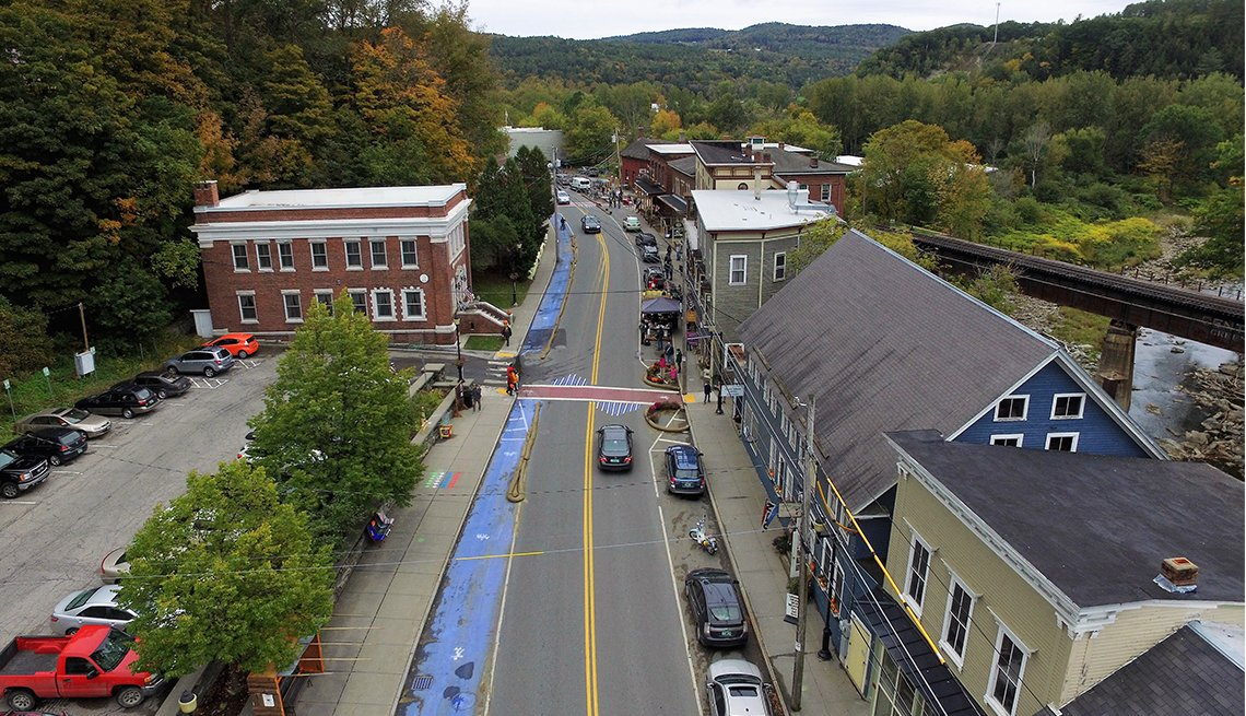 Main Street Bethel as seen from above.