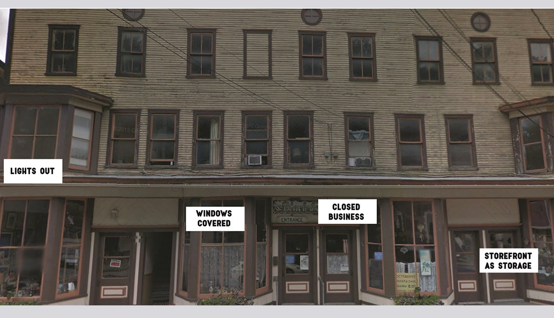Empty and struggling storefronts on Main Street, Bethel, Vermont