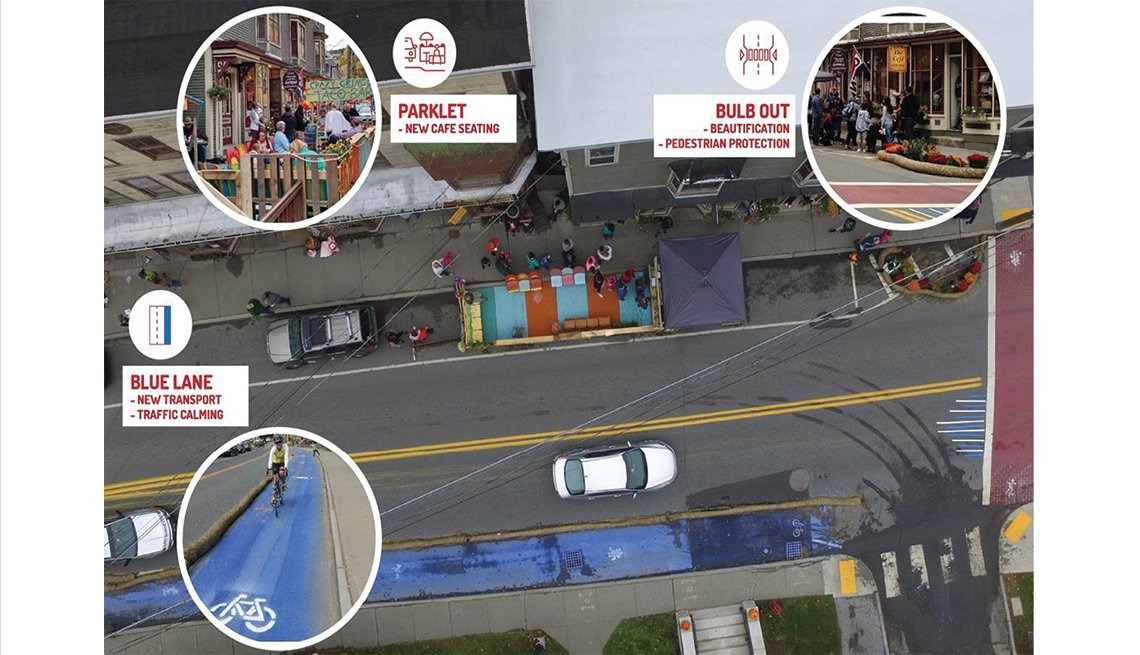 Examples of a parklet, bulb out and Blue Lane in Bethel, Vermont