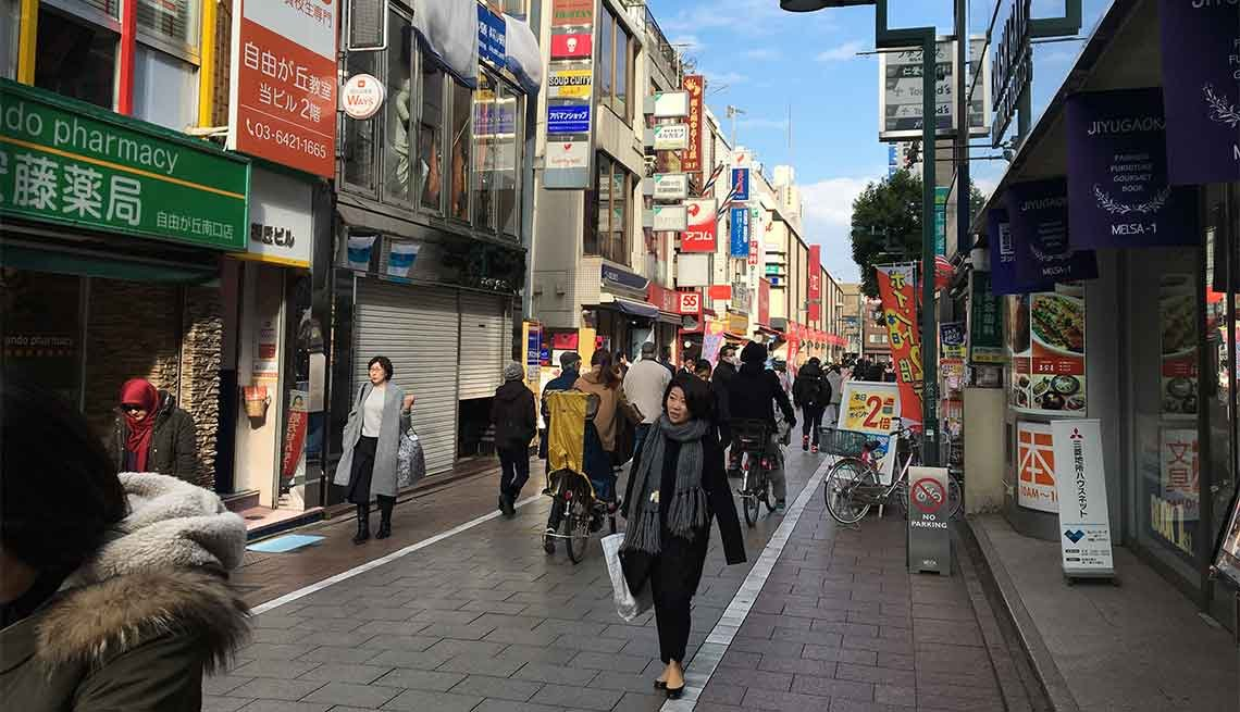Many streets in the Jiyugaoka neighborhood of Tokyo are pedestrian and shopper friendly.