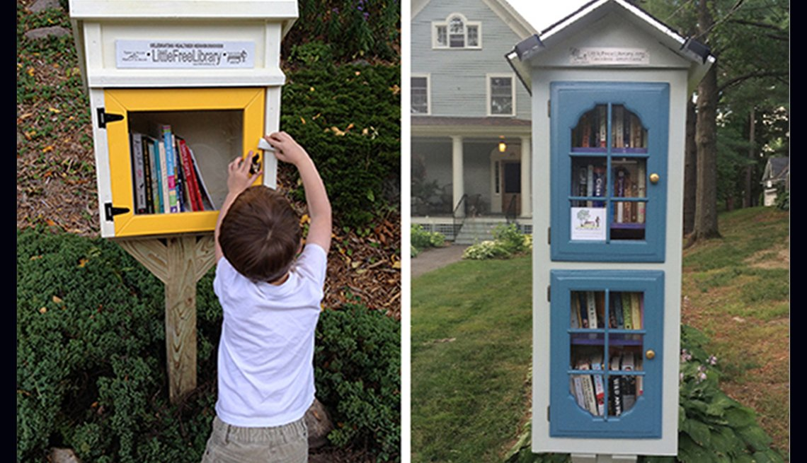 A little boy shuts the door of a little library in Minneapolis and a two-story little library offers up books in Bangor, Maine