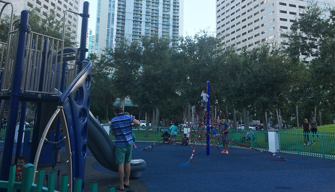 A playground in downtown Miami