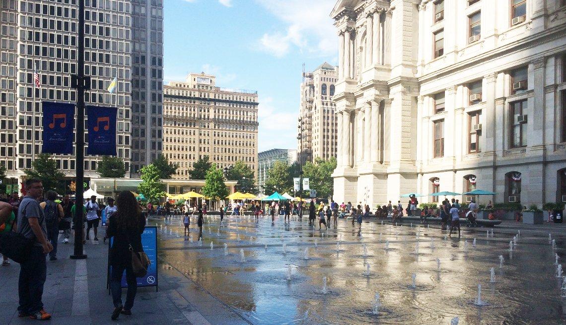 A plaza splash fountain outside the Philadelphia City Hall