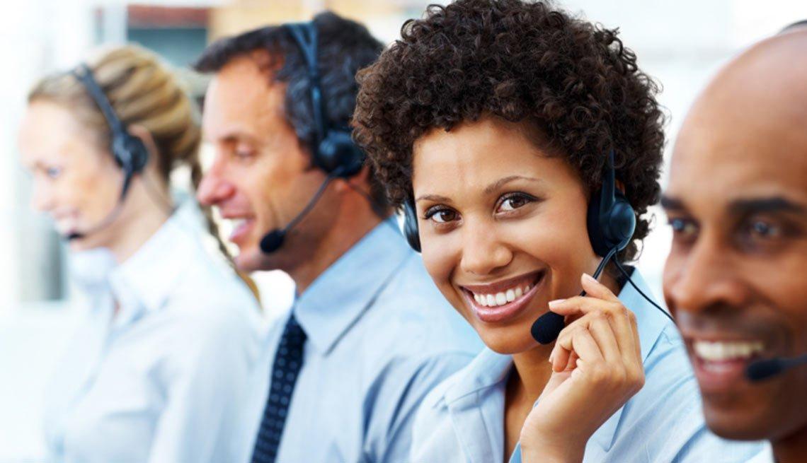 Customer care executive during work