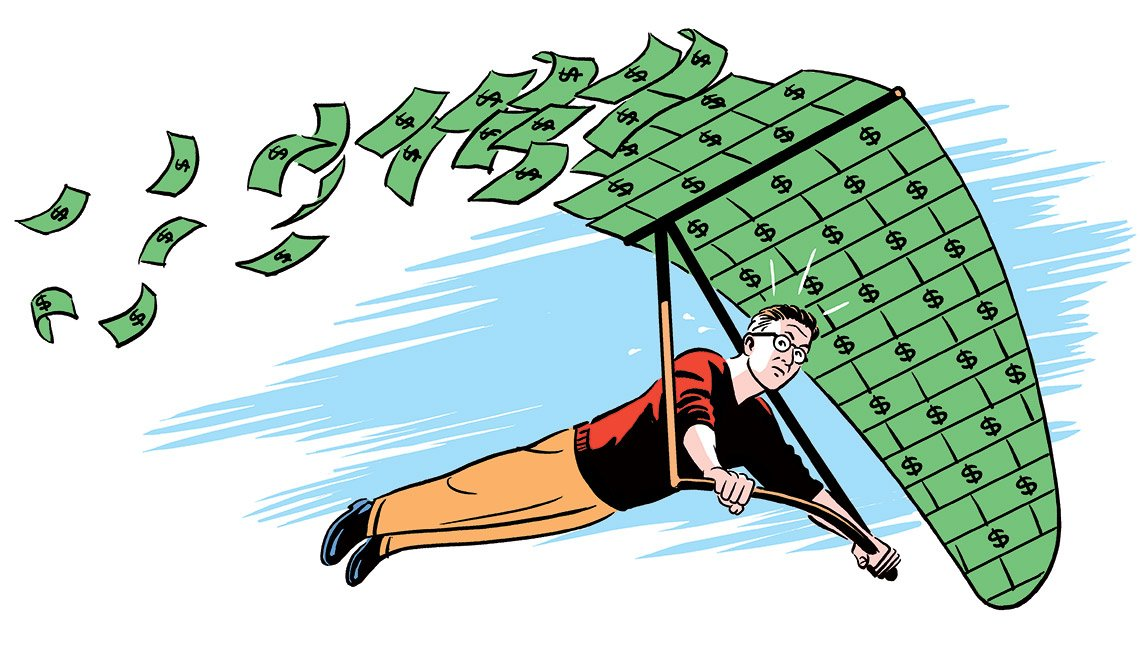 Ilustración de un hombre volando en un parapente cuya ala es de dinero - Cómo hacer que el dinero dure siempre