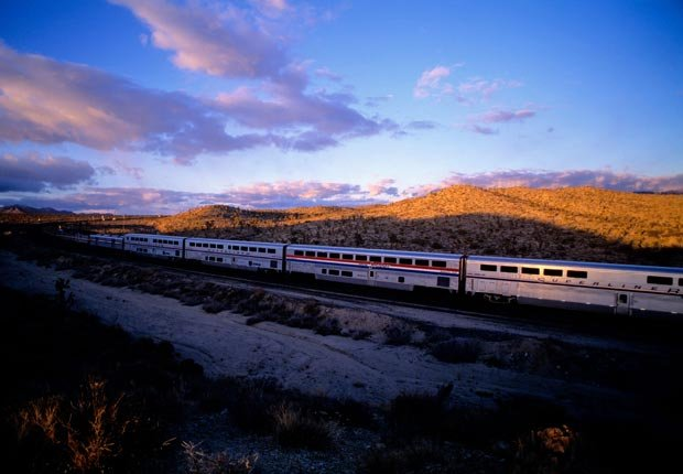 Amtrak train at sunset in California (Mediacolor/Alamy)